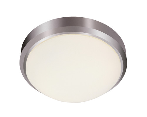 "Bliss 11"" Indoor Brushed Nickel Traditional Flushmount with White Frost Glass Shade"