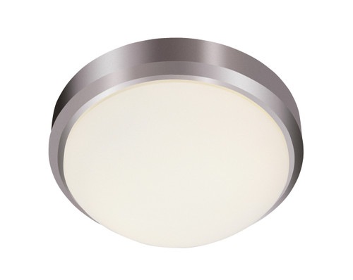 "Bliss 13"" Indoor Brushed Nickel Traditional Flushmount with White Frost Glass Shade"