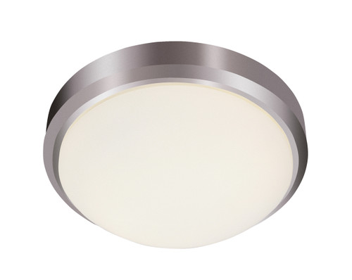 """Bliss 15"""" Indoor Brushed Nickel Traditional Flushmount with White Frost Glass Shade"""