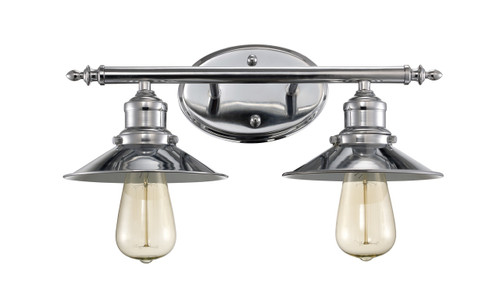 """Griswald 16"""" Indoor Polished Chrome Industrial Vanity Bar with Disk Shaped Metal Shades"""