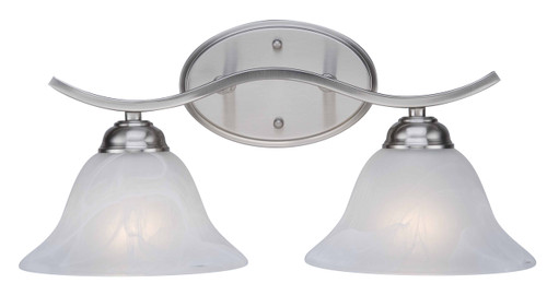 """Hollyslope 17"""" Indoor Brushed Nickel Traditional Vanity Bar with Marbelized Glass Bell Shaped Shades"""
