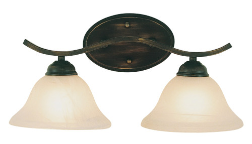 """Hollyslope 17"""" Indoor Rubbed Oil Bronze Traditional Vanity Bar with Marbelized Glass Bell Shaped Shades"""