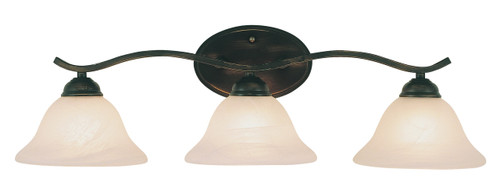 """Hollyslope 26"""" Indoor Rubbed Oil Bronze Traditional Vanity Bar with Marbelized Glass Bell Shaped Shades"""