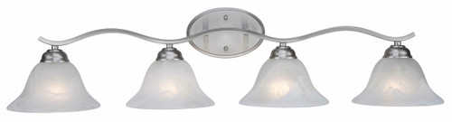 """Hollyslope 35"""" Indoor Brushed Nickel Traditional Vanity Bar with Marbelized Glass Bell Shaped Shades"""