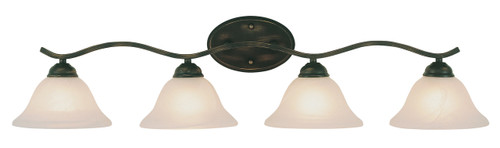 """Hollyslope 35"""" Indoor Rubbed Oil Bronze Traditional Vanity Bar with Marbelized Glass Bell Shaped Shades"""