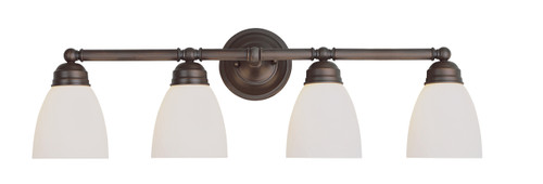 """Ardmore 30"""" Indoor Rubbed Oil Bronze Traditional Vanity Bar with White Frosted Glass"""