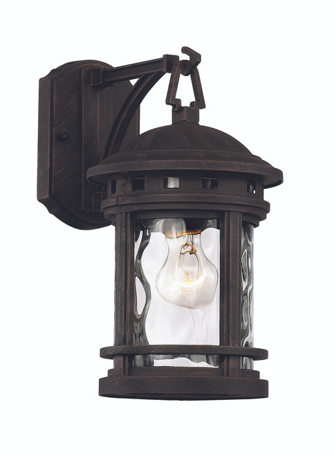 "12.5"" Outdoor Rust Nautical Wall Lantern with Decorative Hook Ring Accent"