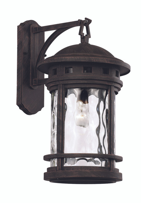 "20"" Outdoor Rust Nautical Wall Lantern with Decorative Hook Ring Accent"