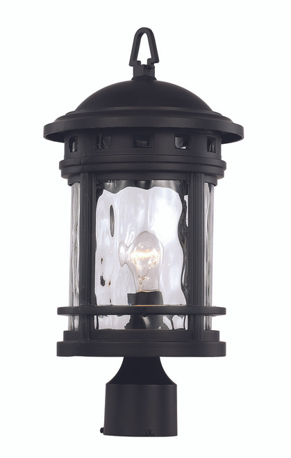 "18.5"" Outdoor Black Nautical Postmount Lantern with Decorative Hook Ring Accent"