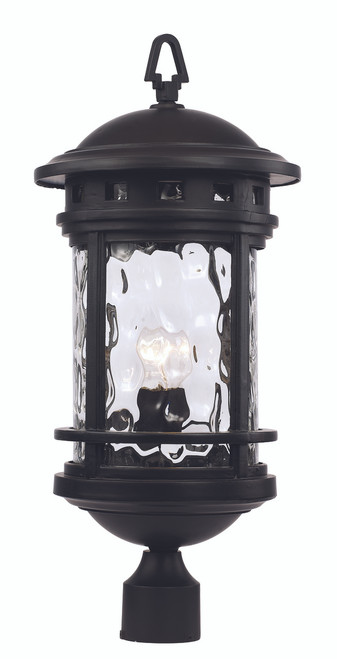 """23.5"""" Outdoor Black Nautical Postmount Lantern with Decorative Hook Ring Accent"""