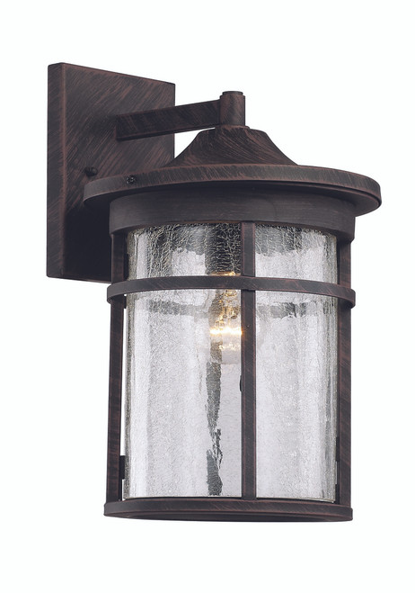 "17.75"" Outdoor Rust Transitional Wall Lantern with Cast Aluminum Frame"