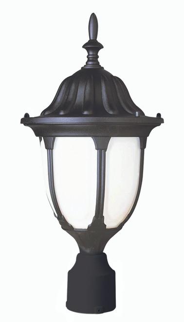 "Hamilton 19"" Outdoor Black Traditional Postmount Lantern with Classic Landscaping Light Asthetics"