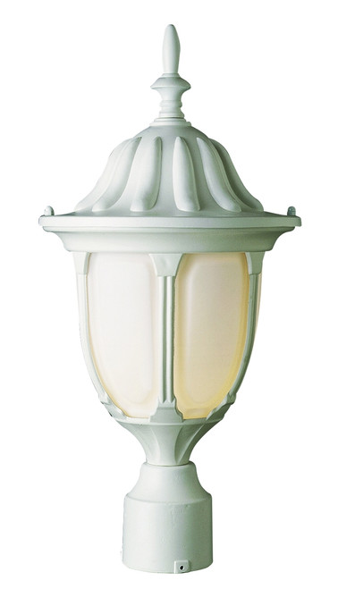 "Hamilton 19"" Outdoor White Traditional Postmount Lantern with Classic Landscaping Light Asthetics"