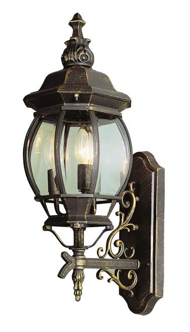 "Francisco 25"" Outdoor Black Gold Tuscan Wall Lantern"