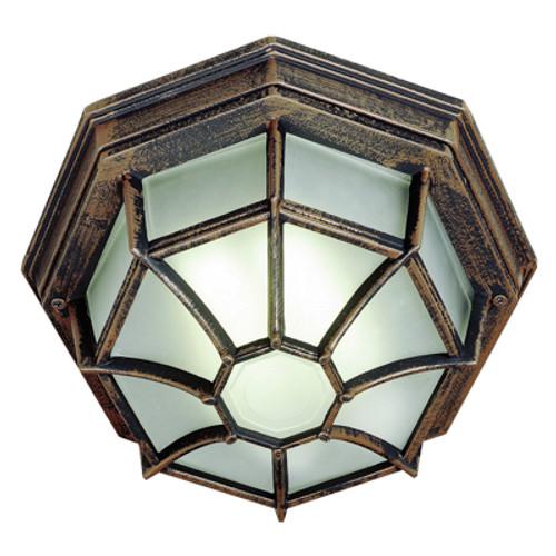 "Trans Globe Lighting 40581 RT 4"" Outdoor Rust Rustic Flushmount Lantern"