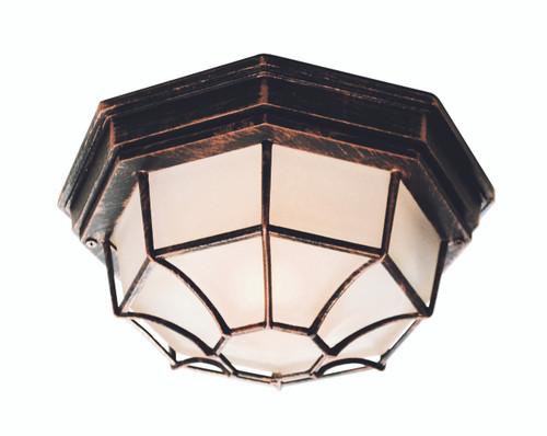 "Benkert 5"" Outdoor Black Copper Rustic Flushmount Lantern with Black Rustic Octagonal Metal Frame"