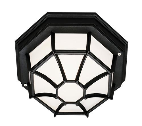 """Benkert 5"""" Outdoor Black Rustic Flushmount Lantern with Black Rustic Octagonal Metal Frame"""
