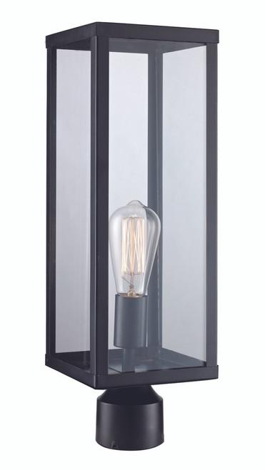 "Oxford 19.25"" Outdoor Black Industrial  Postmount Lantern"