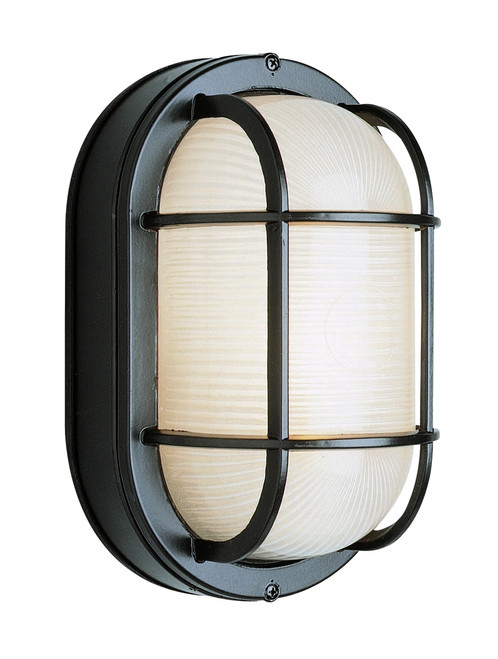 """Aria Collection 8.5"""" Nautical Style Outdoor Black  Bulkhead with Frosted Glass"""