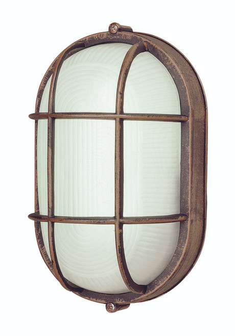 """Aria Collection 8.5"""" Nautical Style Outdoor Rusted Bronze Bulkhead with Frosted Glass"""