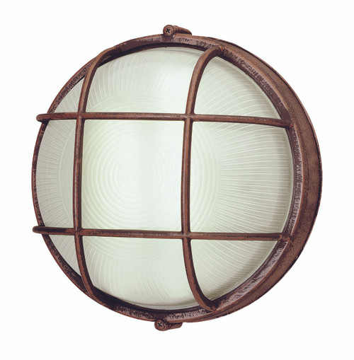 """Aria Collection 10"""" Outdoor Rusted Bronze Nautical Ship Themed Bulkhead Wall Light"""