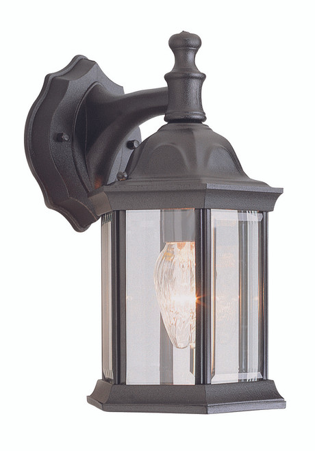 """Cumberland 12.5"""" Outdoor Black Traditional Wall Lantern with Classic Hexagonal Shape and Clear Glass Sides"""