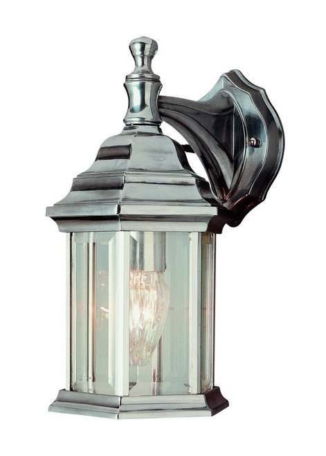 """Cumberland 12.5"""" Outdoor Brushed Nickel Traditional Wall Lantern with Classic Hexagonal Shape and Clear Glass Sides"""