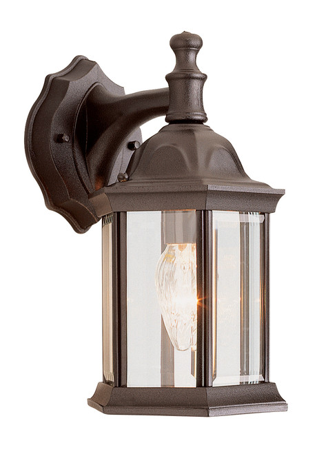 """Cumberland 12.5"""" Outdoor Rust Traditional Wall Lantern with Classic Hexagonal Shape and Clear Glass Sides"""