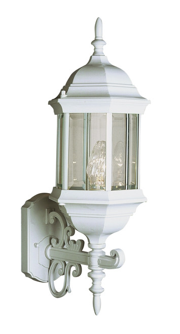 """Josephine 26"""" Outdoor White Colonial Wall Lantern with Clear Beveled Glass"""