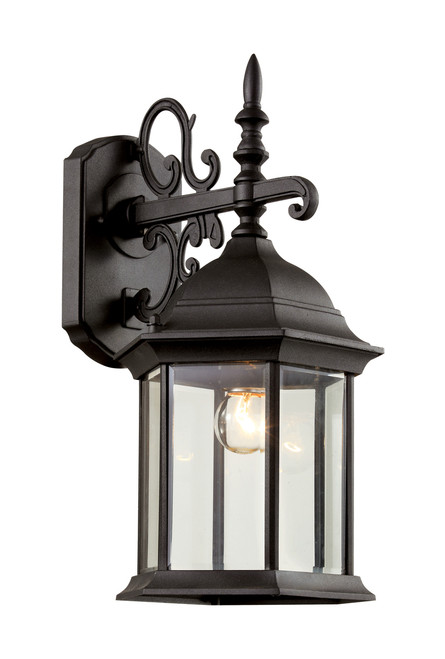 """Josephine 14.5"""" Outdoor Black Colonial  Wall Lantern with Clear Beveled Glass"""