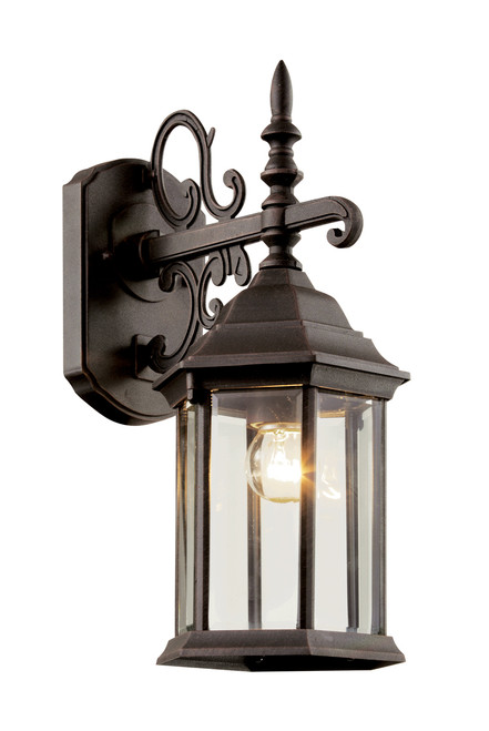 """Josephine 14.5"""" Outdoor Rust Colonial  Wall Lantern with Clear Beveled Glass"""