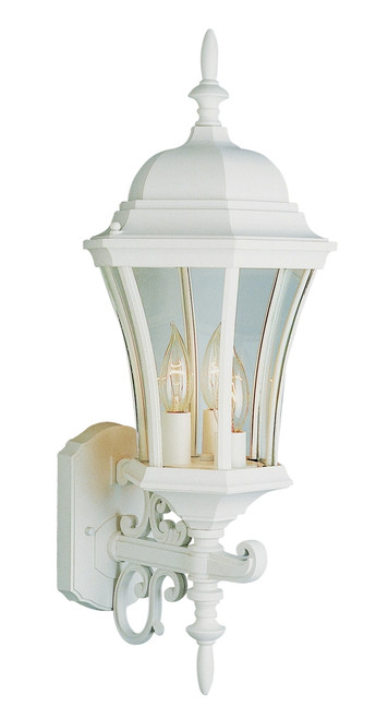 """Burlington II 23.5"""" Outdoor White Colonial Wall Lantern with Slim Curvature Design"""