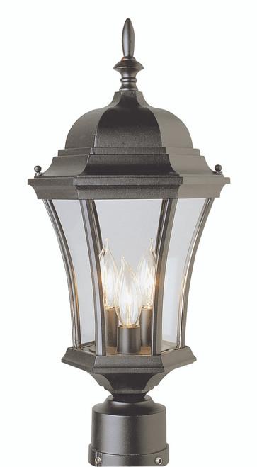 "Burlington 21.25"" Outdoor Black Postmount Lantern with Traditional Coach Design"