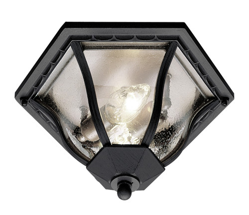"""Bostwick 8.5"""" Outdoor Black Traditional Flushmount Lantern with Clear Seeded Glass and Metal Frame"""