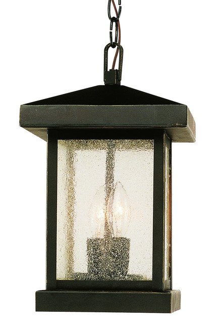 "Santa Cruz 13"" Outdoor Weathered Bronze Traditional Hanging Lantern"