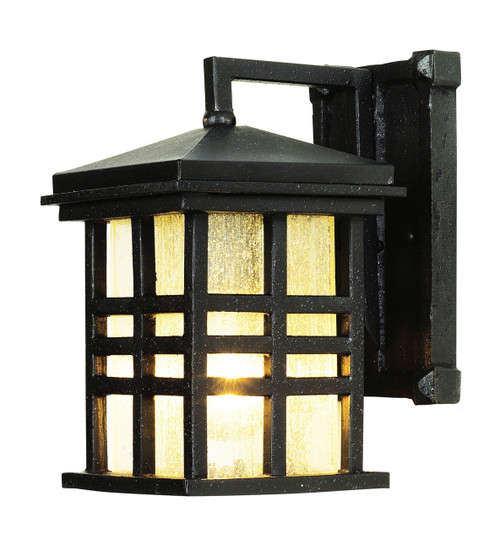 """Huntington 10"""" Outdoor Black Mission/Craftsman Wall Lantern with Clear Seeded Glass"""