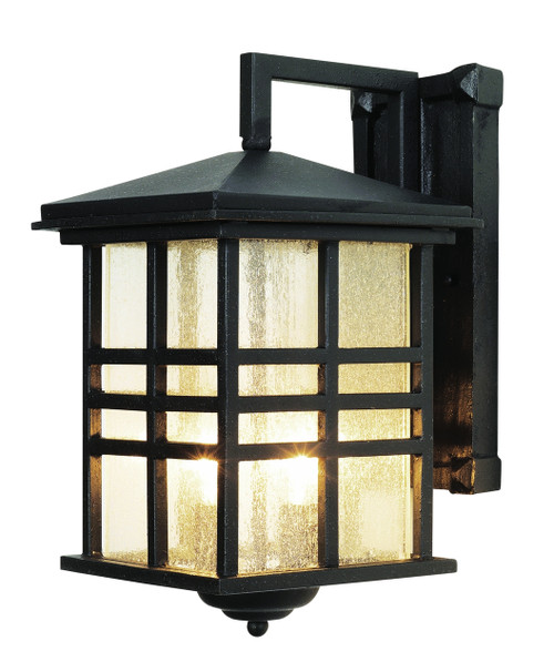 """Huntington 13"""" Outdoor Black Mission/Craftsman Wall Lantern with Clear Seeded Glass"""