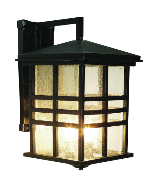 """Huntington 16"""" Outdoor Black Mission/Craftsman Wall Lantern with Clear Seeded Glass"""