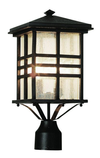 """Huntington 16"""" Outdoor Black Mission/Craftsman Postmount Lantern with Clear Seeded Glass"""