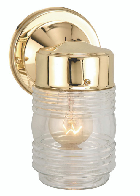 """Quinn 7"""" Outdoor Polished Brass Traditional Wall Lantern"""