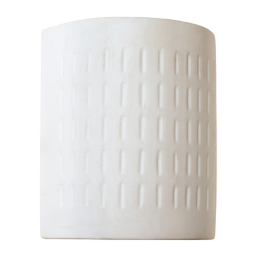 """Coast Collection 8.25"""" Indoor White Ceramic, Paintable Contemporary Wall Lantern with Curved Geometric Shade"""