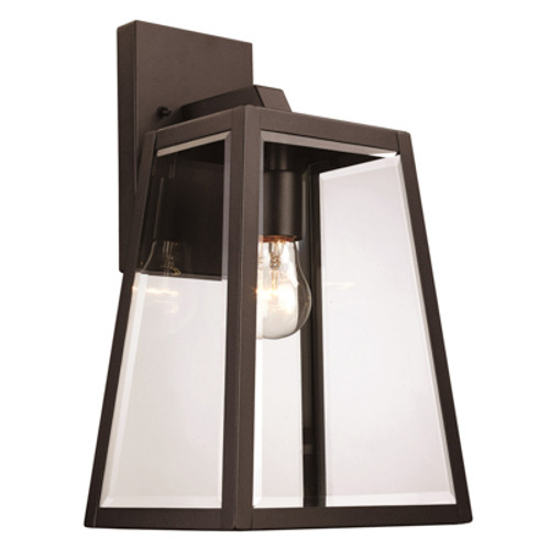 """Obsidian 14.5"""" Outdoor Black Transitional  Wall Lantern with Minimalist Design Profile"""
