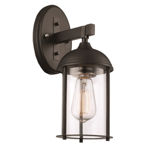 """Blues Collection 13.5"""" Outdoor Black Traditional Wall Lantern with Rounded Clear Glass and Durable Metal Frame"""