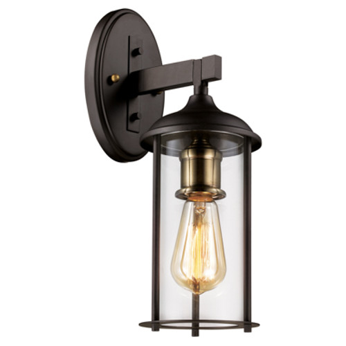 """Blues Collection 15.5"""" Outdoor Rubbed Oil Bronze Traditional Wall Lantern with Rounded Clear Glass and Durable Metal Frame"""