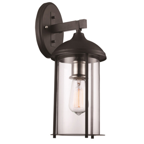 """Blues Collection 16.5"""" Outdoor Black Traditional Wall Lantern with Rounded Clear Glass and Durable Metal Frame"""
