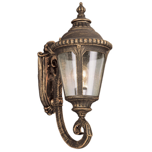 """Commons 19"""" Outdoor Black Gold Tuscan Wall Lantern with Braided Crown Trim and Leaf Window Accents"""