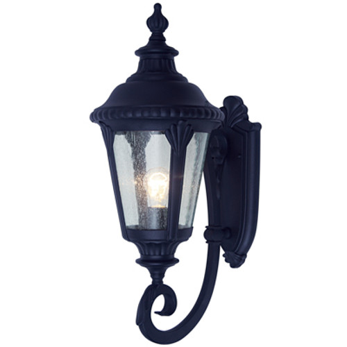 """Commons 19"""" Outdoor Black Tuscan Wall Lantern with Braided Crown Trim and Leaf Window Accents"""