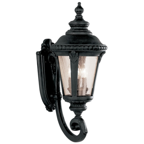 """Commons 25"""" Outdoor Black Tuscan Wall Lantern with Braided Crown Trim and Leaf Window Accents"""
