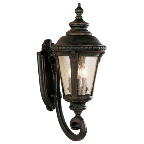 """Commons 25"""" Outdoor Rust Tuscan Wall Lantern with Braided Crown Trim and Leaf Window Accents"""