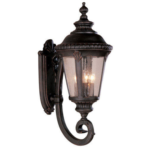 """Commons 29"""" Outdoor Black Gold Tuscan Wall Lantern with Braided Crown Trim and Leaf Window Accents"""